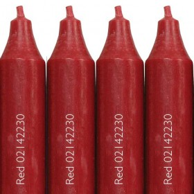 12 Cidex Candles Red 30 x 22 cm. Burn time approx 12 hours.