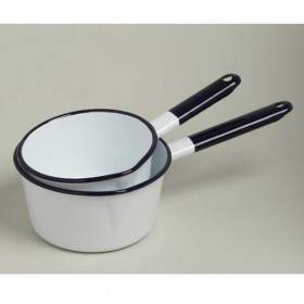 Emalia enamel saucepan with lip 16 cm white / blue