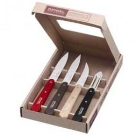 Opinel -  3 Knives/peeler Essential Set of 4 - colour Red/Grey/nat/blk.
