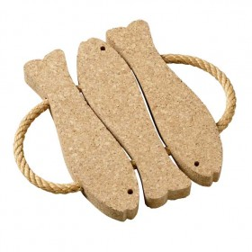 Viking Cork Woodware - trivet with rope 3 fish cork