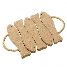 Viking Cork Woodware - trivet with rope 5 fish cork