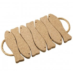 Viking Cork Woodware - trivet with rope 7 fish cork