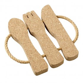 Viking Cork Woodware - trivet with rope cutlery