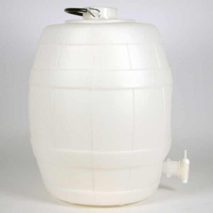 5 Gallon Basic White Plastic Barrel with pressure release valve from dowricks.com