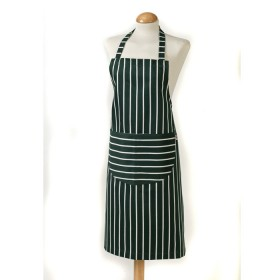 Belle - Kitchen textiles - butchers stripe kitchen apron 101 x 88 cm green