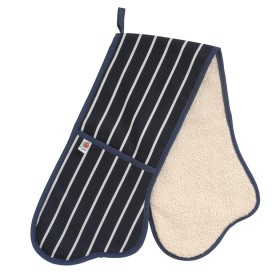 Belle - Kitchen textiles - butchers stripe double oven glove 91 cm navy