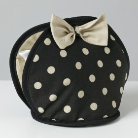 Belle - Kitchen textiles - bow tea cosy simone black / pebble spot