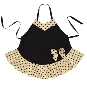 Belle - Kitchen textiles - bow kitchen apron black sophia pebble / black spot