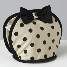 Belle - Kitchen textiles - bow tea cosy sophia pebble / black spot