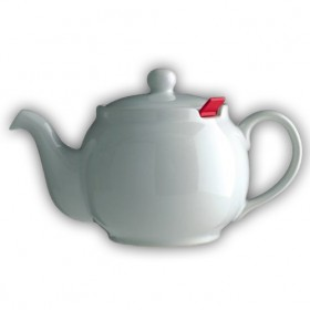Chatsford White 2 cup stoneware teapot with red filter