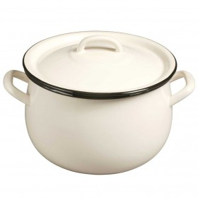 Emalia enamel casserole dish and lid 16 cm cream / black