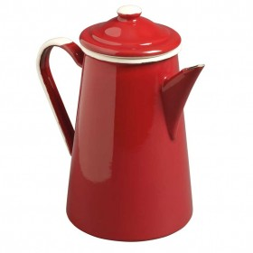Emalia enamel coffee pot 1 litre red / cream