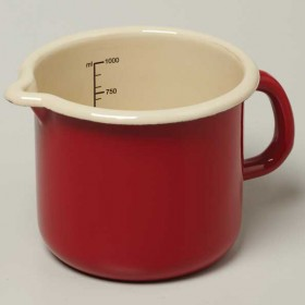 Emalia enamel measuring jug 1 litre / diameter 12 cm red / cream