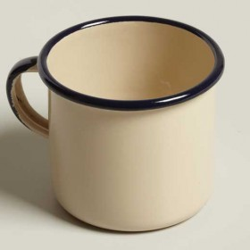 Emalia enamel mug straight height diameter 7 cm cream / black