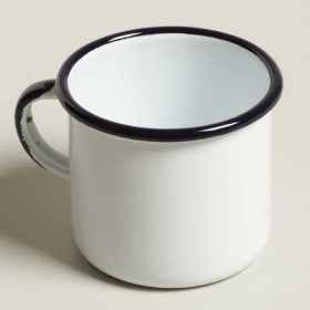 Emalia enamel mug straight height diameter 7 cm white / blue
