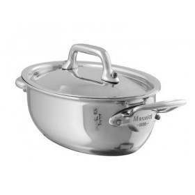 13 cm oval cass and lid stainless steel m'minis