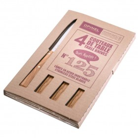 Opinel -  Bon Appetit Table Knives set of 4 Number 125 - Olive Wood Handles.