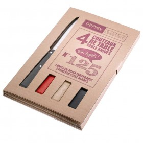 Opinel -  Bon Appetit Table Knives set of 4 Number 125 - grey/red/nat/blk Colours.