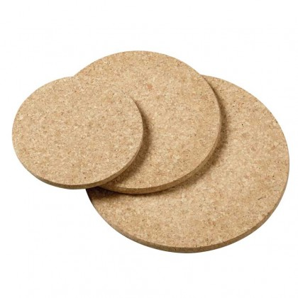 Viking Cork Woodware - 3 piece round hot pad set (140,180,220 mm) cork from dowricks.com