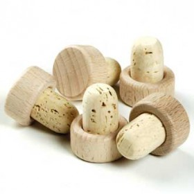 Viking Cork Woodware - set 5 corks with wood top