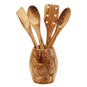 Woodware - Utensils and Holder approx 12 - 15 cm Olive wood