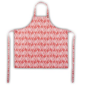 Belle - Quality 'English made' kitchen textiles - standard apron coral leaf crisp and dene