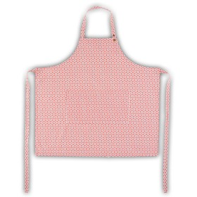 Belle - Quality 'English made' kitchen textiles - standard apron coral flower crisp and dene
