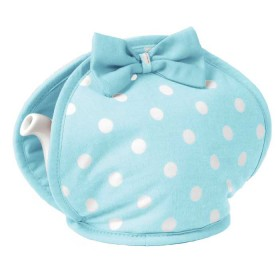 Alice Bow tea cosy aqua / White spot
