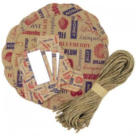 Decorative preserve covers, tags and string - red and blue