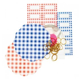 Gingham red/blue preserving set by Tala - 20 pieces