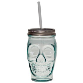 drinking tumbler with lid clear 450cl skull