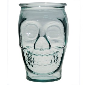 large tumbler clear 450cl skull