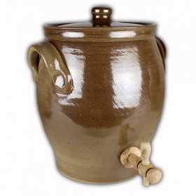 Vinegar pot light brown salt glazed 3 litres